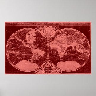 Vermelho vermelho & claro do mapa do mundo (1691) poster