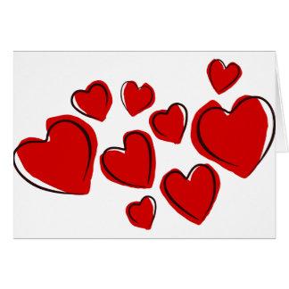 Vermelhos de Corações Cartões