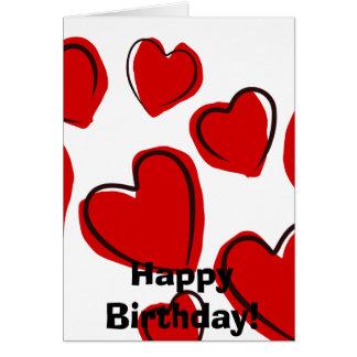Vermelhos de Corações Cartão Comemorativo