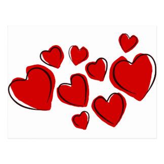 Vermelhos de Corações Cartão Postal
