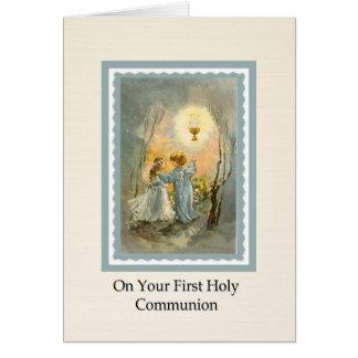 Verso do cartão do Eucaristia do comunhão das
