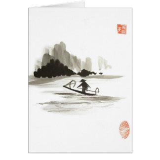 Vertical chinês do cartão vazio do barco do