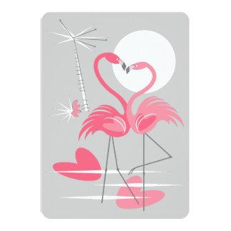 Vertical do convite do amor do flamingo
