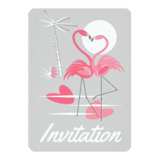 Vertical do convite do amor dos flamingos
