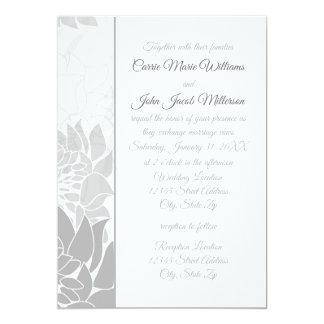 Vertical floral elegante cinzento - convite do