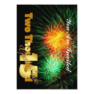 Véspera de ano novo 2015 convite 12.7 x 17.78cm