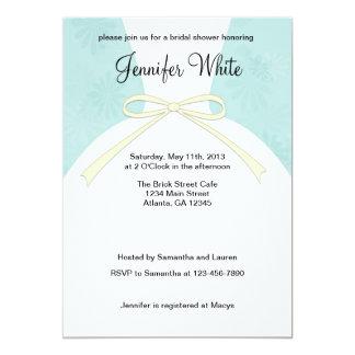 Vestido azul dos chás de panela convite 12.7 x 17.78cm