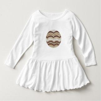 Vestido bege do plissado da criança do mosaico tshirt