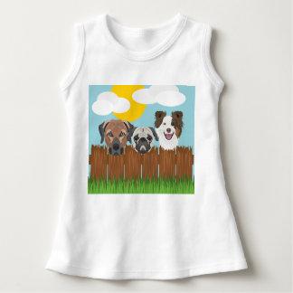 Vestido Cães afortunados da ilustração em uma cerca de