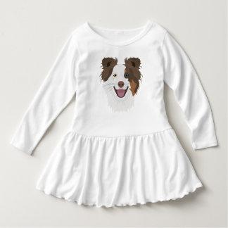 Vestido Cara feliz border collie dos cães da ilustração