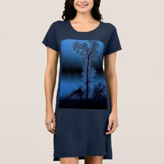 Vestido Choupos abstractos azuis