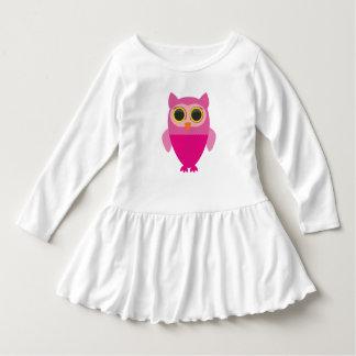 Vestido Coruja cor-de-rosa curiosa bonito