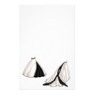 Vestido de casamento preto e branco papelaria