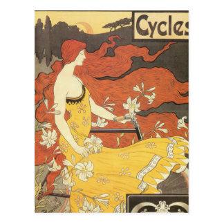Vestido do amarelo da menina da bicicleta do cartão postal