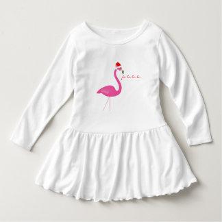 Vestido do bebê do feriado do flamingo do la do la