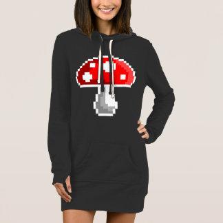 Vestido do Hoodie do cogumelo do pixel (escuro)