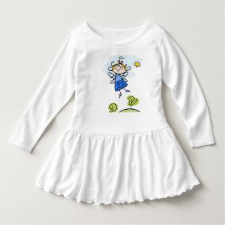 Vestido do plissado da criança com motriz do anjo