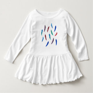 Vestido do plissado da criança com penas da