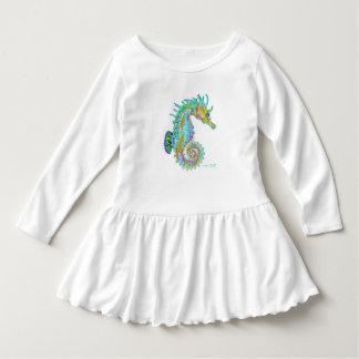 Vestido do plissado da criança do cavalo marinho