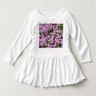 Vestido do plissado da criança - flores roxas
