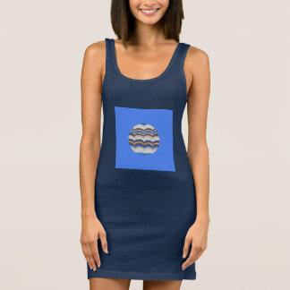 Vestido do tanque das mulheres azuis redondas do