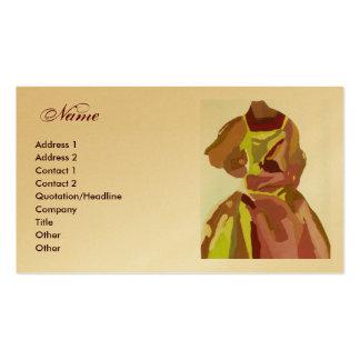"""Vestido dourado de Brown do """"desenhador de moda"""" Cartão De Visita"""
