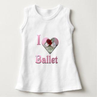 Vestido Eu amo o balé com rosa vermelha