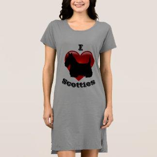 Vestido Eu amo os terrier escoceses, coração vermelho