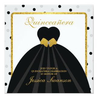Vestido formal preto Quinceañera com arco do Convite Personalizados
