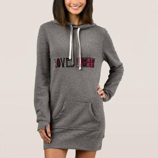 Vestido hoodie simples com citações do amor