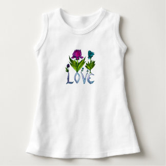 Vestido infantil do algodão da flor do amor