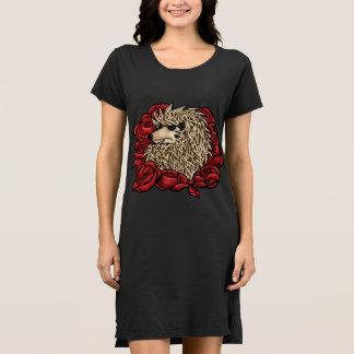Vestido Vestido mal-humorado do t-shirt do ouriço