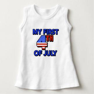 Vestido Meu primeiro 4o do bebê de julho patriótico