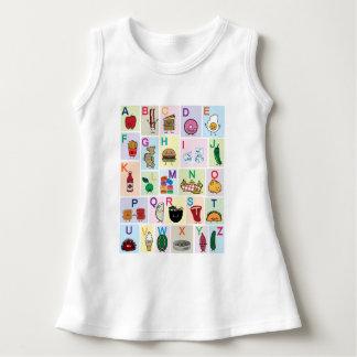 Vestido O alfabeto de ABC que aprende alimentos felizes
