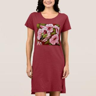 Vestido O colibri de Anna em trombetas cor-de-rosa