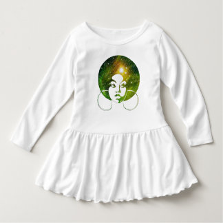 Vestido Plissado T das meninas da galáxia do verde da diva