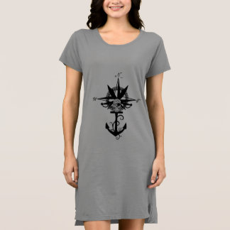 Vestido Rosa de compasso do pirata com crânio