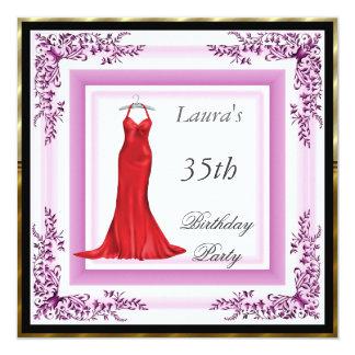 Vestido rosa vermelha do convite de aniversário convite quadrado 13.35 x 13.35cm