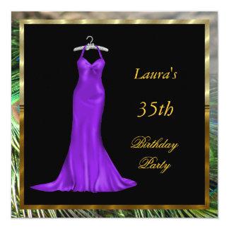 Vestido roxo do convite de aniversário