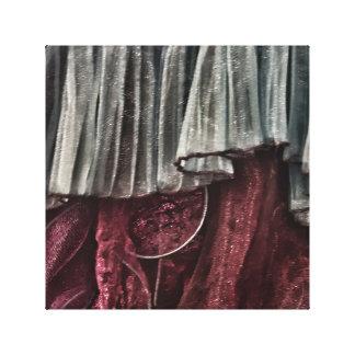 Vestido Ruffled Impressão Em Tela