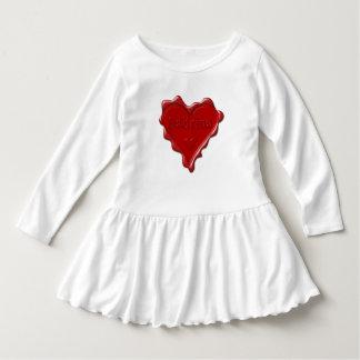 Vestido Sabrina. Selo vermelho da cera do coração com
