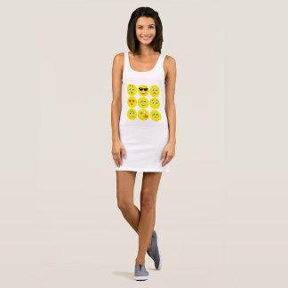Vestido Sem Manga Emojis amarelo e branco bonito