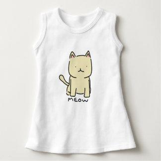 Vestido sem mangas do bebê do Meow do gato