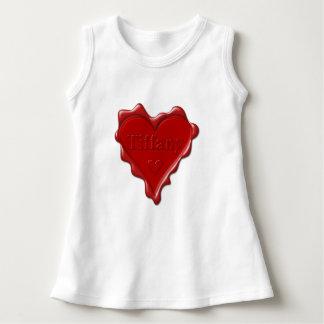 Vestido Tiffany. Selo vermelho da cera do coração com