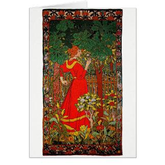 Vestido vermelho 1898 cartão