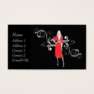 Vestido vermelho do vintage - personalize cartão de visitas