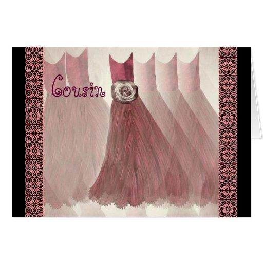 Vestidos do ROSA da ANTIGUIDADE do convite da dama Cartão