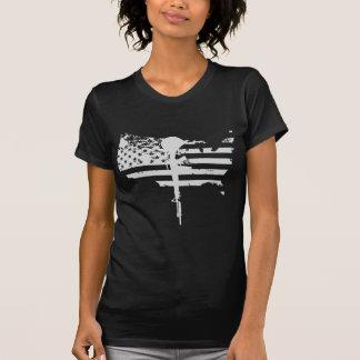 veterano do branco da arma da bandeira dos EUA Camiseta