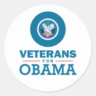 Veteranos para Obama Adesivos Redondos