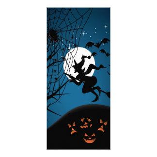 vetor assustador da bruxa e das aranhas da noite d 10.16 x 22.86cm panfleto